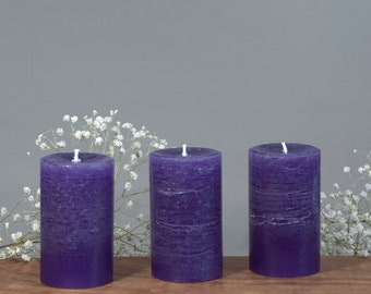 """3, Purple Rustic Candles - 2 x 3"""" - Unscented Candles -  Small Pillar Candles - Trending Color - Rustic Candle - Hostess Gift"""