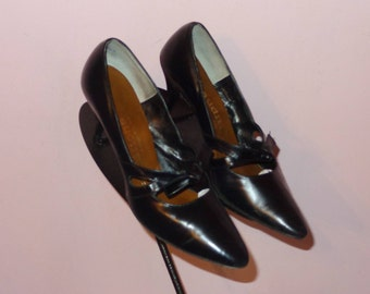 Vtg 50s Atomic Marilyn Black Pointy Top Pump Super Cool 50s Heel 7.5 AA Excellent Condition