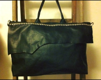 Bag genuine leather black with studs