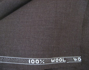 """1 2/3 Yds @ 60"""" wide dark brown worsted wool suiting fabric"""