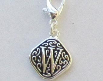 Vintage  Letter W  Dangle  Lobster Claw for Necklace - Bracelets - Key Chains
