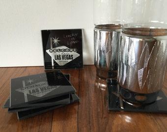 Retro Vegas Glass Coaster Set