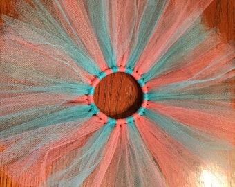 Tutu Hair ties- aqua blue and coral  (4 inches)