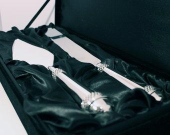 Wedding Cake Knife and Server Set - Embellished with Swarovski Crystals & Personalised