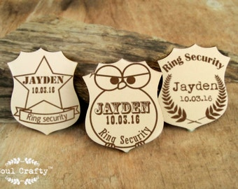 Personalized Ring Security Badge Cute Owl Officer Ring Bearer Gift Rustic Wedding Laser Engraved Wooden Badge