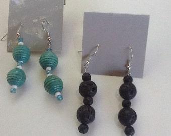 Earrings 2 pairs ,Blue, Black