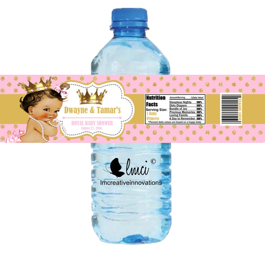 royal princess baby shower water bottle labels royal birthday