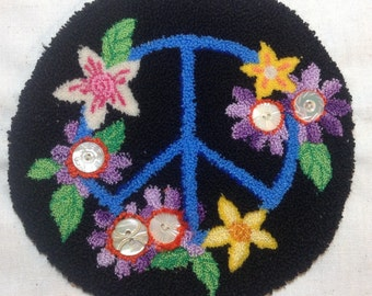Peace Sign Punch Needle Embroidery  Pattern