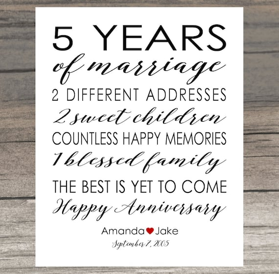 Anniversary Gift Print 5 Year Wedding 5th Anniversary Personalized ...