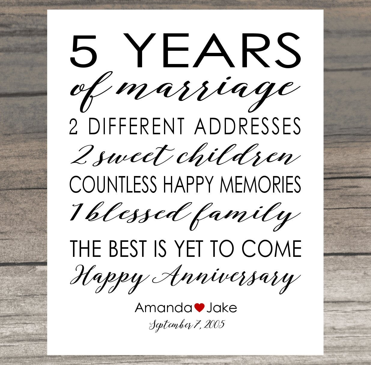 5th Wedding Anniversary Traditional Gift: Anniversary Gift Print 5 Year Wedding 5th Anniversary