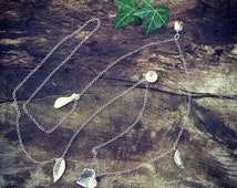 Long sterling silver necklace with woodland charms - long necklace with leaf, acorn peapod, flower, ivy