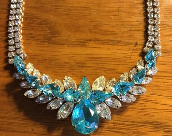 Gorgeous Antique Sterling Crystal Rhinestone Choker Necklace
