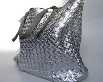 Silver leather bag braided leather
