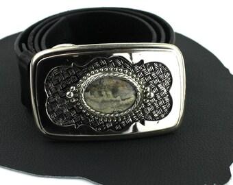 Gray Stone in Silver Western Buckle on Black Leather Belt - size 30 31 32 33 34