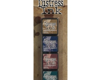 TH #12 Tim Holtz Mini DISTRESS INK Kit 12 Mini Distress Ink Pads Brushed Corduroy, Chipped Sapphire, Aged Mahogany, Pine Needles 1.cc03