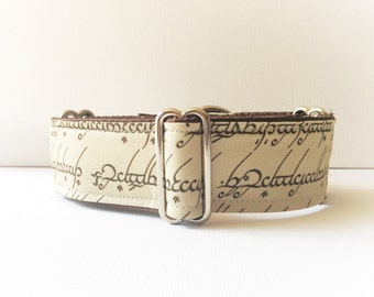 My Precious Ring martingale collar (dog collar, greyhound martingale, movie ring elves beige brown writing handmade fabric cotton satin)