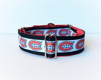 Canadians martingale collar (dog collar, greyhound martingale, hockey team Habs sports Canadians ribbon red cotton satin)