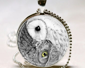 owl glass picture pendant necklace