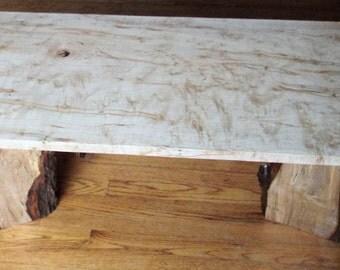 Live Edge Ambrosia Maple Slab Coffee Table with Live Edge Legs