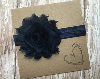 Navy Shabby Flower Headband