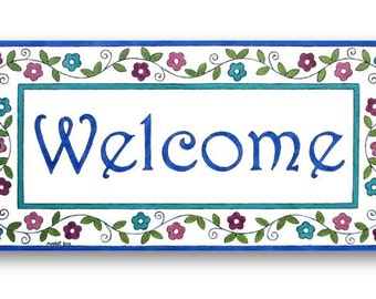 Hanging welcome sign, Welcome plaque, Home decor welcome sign, Housewarming gift