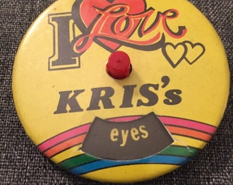 Vintage Personalized Name Pinback Button-- Kris Name Button --Vanlentine's Gift for Kris-- Rotating Name Button -- I Love Kris Button