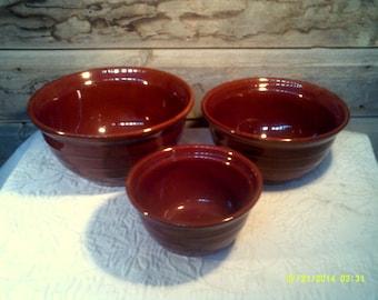 Three Vintage Mar- Crest Brown Stoneware Nesting Mixing Bowls, Brown Mixing Bowls, Stoneware Bowls, Brown Nesting Bowls, Brown Bowls