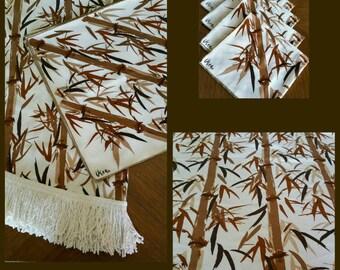 Vintage Vera Neumann bamboo tablecloth and napkin set.