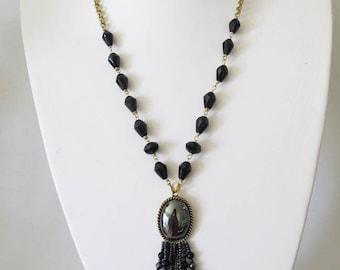 Repurposed, Upcycled Vintage, Flapper Style, Handmade Vintage Fringe Necklace
