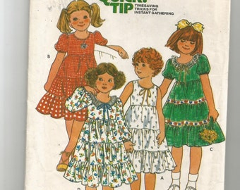 6089 Butterick Sewing Pattern Girls Dress w Fitted Bodice Gathered Tiered Skirt Size 5 24 Breast Vintage 1980s