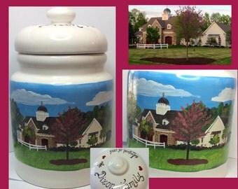 Cookie Jar Custom Painted House Warming Gift