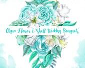 Aqua Flower & Shell Wedding Bouquets - digital printable watercolor cliparts - blue-green, white flowers