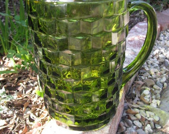 Vintage Indiana Glass Co Green Large Beverage Pitcher In the Whitehall Pattern