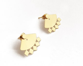 """Ear cuff Ear jacket Stud underneath """"Telma"""" brass gilded with fine gold sold individually or as a pair."""