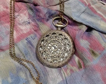 Steampunk Victorian Spidernet  Vintage Necklace Watch