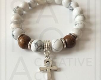 Mens ankh semi-precious bracelet