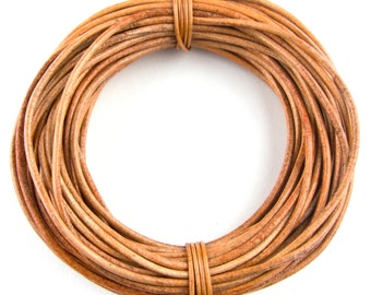 Tan Round Leather Cord 1.5mm 25 meters (27 yards)