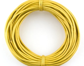 Yellow Metallic Round Leather Cord 2mm 25 meters (27.34 yards)