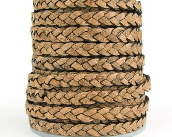 Earth Brown Natural Dye Flat Braided Leather Cord 5mm 1 Yard
