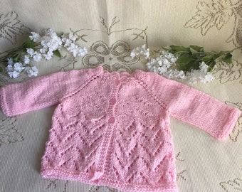 0 to 3 month Baby sweater, Baby Cardigan, Pink baby cardiga, Baby Gift, pink sweater, pink baby sweater