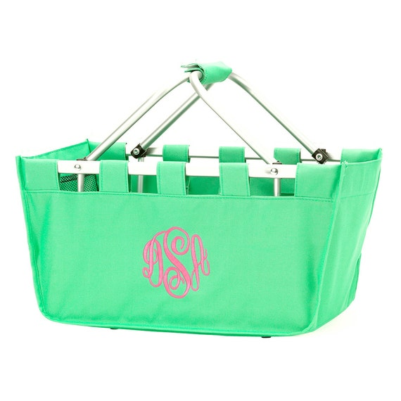 Mint Market tote picnic basket tote monogram basket tote personalized tote bag tailgate tote gameday bag college dorm shower caddy basket