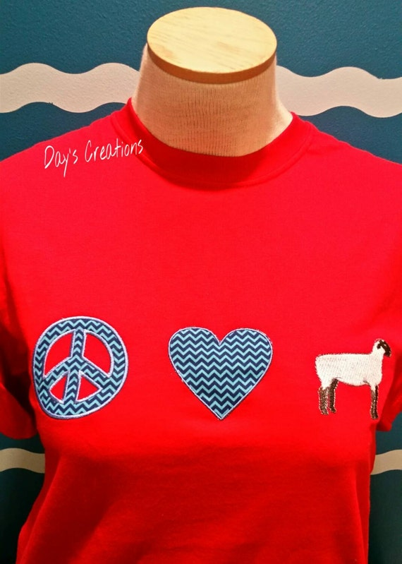 Embroidered lamb t-shirt - custom lamb lover shirt - peace love and sheep shirt - sheep shirt - custom sheep shirt - farm girl t-shirt