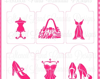 cookie stencils fashion girly designs set of 6