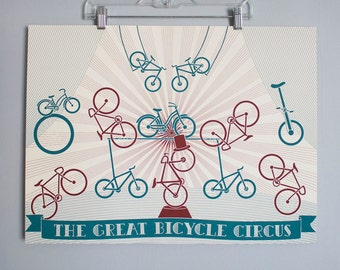 """Bicycle Circus Poster- 18x24 """"The Great Bicycle Circus"""" Limited Edition Screen Printed Art Poster"""