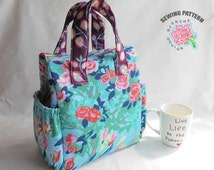 Insulated Lunch Bag PDF Pattern, Tote Bag Sewing Pattern PDF, PDF Lunch Bag Pattern with detailed instructions