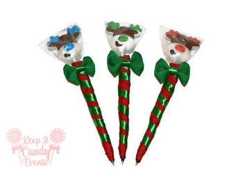 Reindeer Lollipop Pen, Christmas Lollipop Pen, Christmas Favor, Stocking Stuffer, Reindeer Pen, Christmas Wedding Favor, Holiday