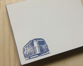vintage inspired flat note cards and envelopes, stationery set, retro rv, airstream, a2, set of 10, navy