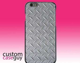 Hard Snap-On Case for Apple 5 5S SE 6 6S 7 Plus - CUSTOM Monogram - Any Colors - Grey Diamond Plate Steel