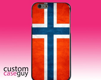 Hard Snap-On Case for Apple 5 5S SE 6 6S 7 Plus - CUSTOM Monogram - Any Colors - Norway Old Flag