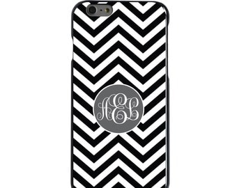 Hard Snap-On Case for Apple 5 5S SE 6 6S 7 Plus - CUSTOM Monogram - Any Colors - Black White Grey Chevron Circle